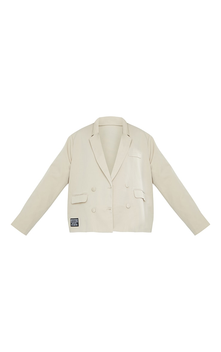 PRETTYLITTLETHING Maternity Stone ARCHIVE Oversized Double Breasted Blazer 5