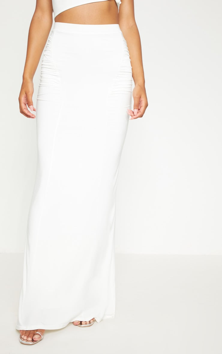 Cream Slinky Ruched Detail Maxi Skirt 2