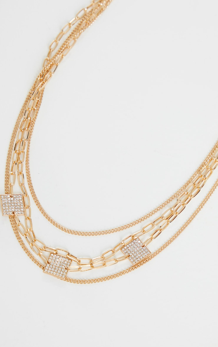 Gold Square Pave Charm Layering Necklace 3