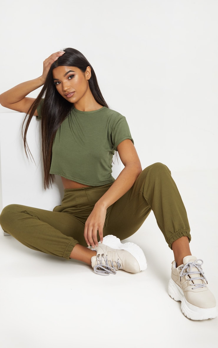 Basic Khaki Roll Sleeve Crop T Shirt 4