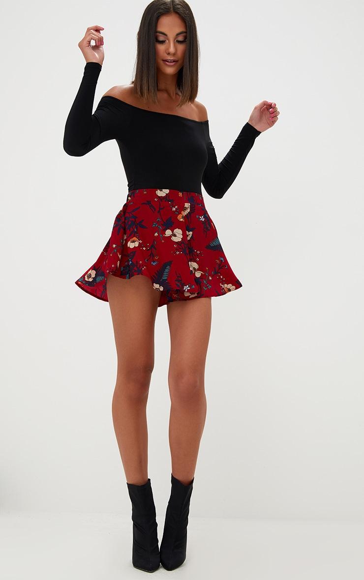 Burgundy Floral Floaty Shorts 4