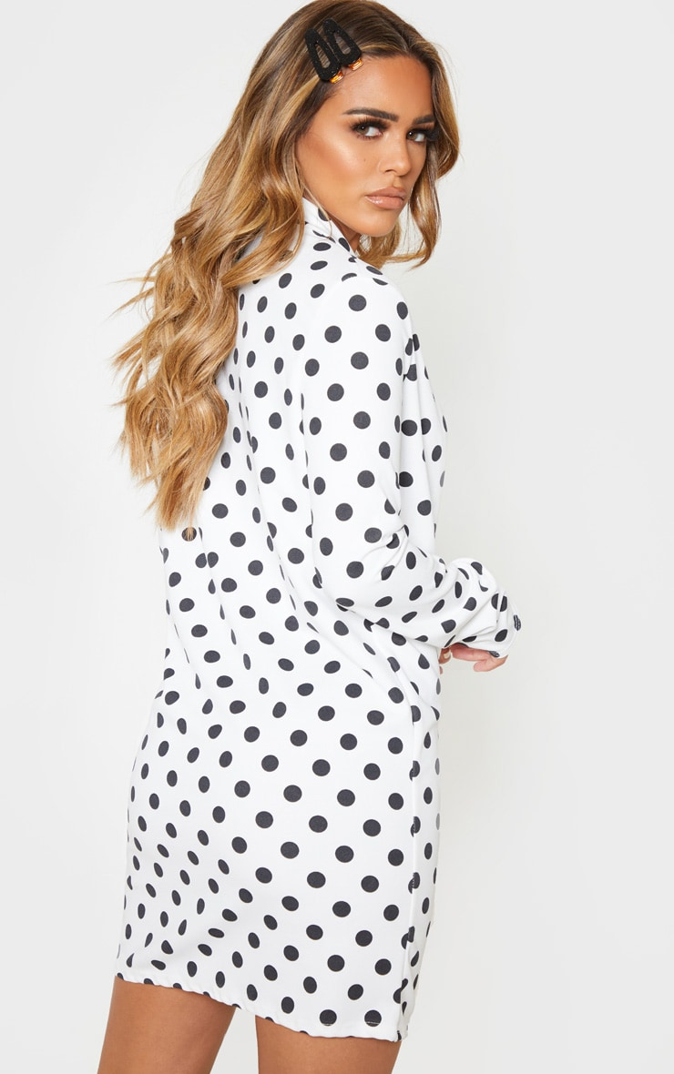Petite White Polkadot Button Blazer Dress 2