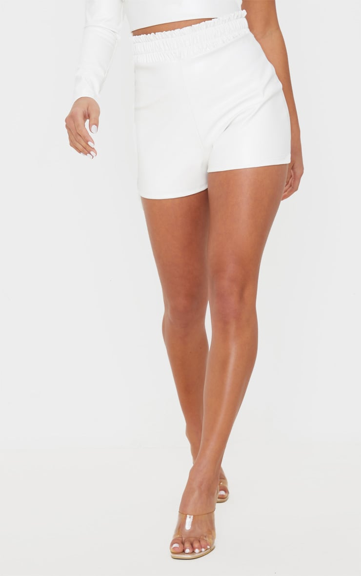 Petite Cream Ruched Waist PU Short 2