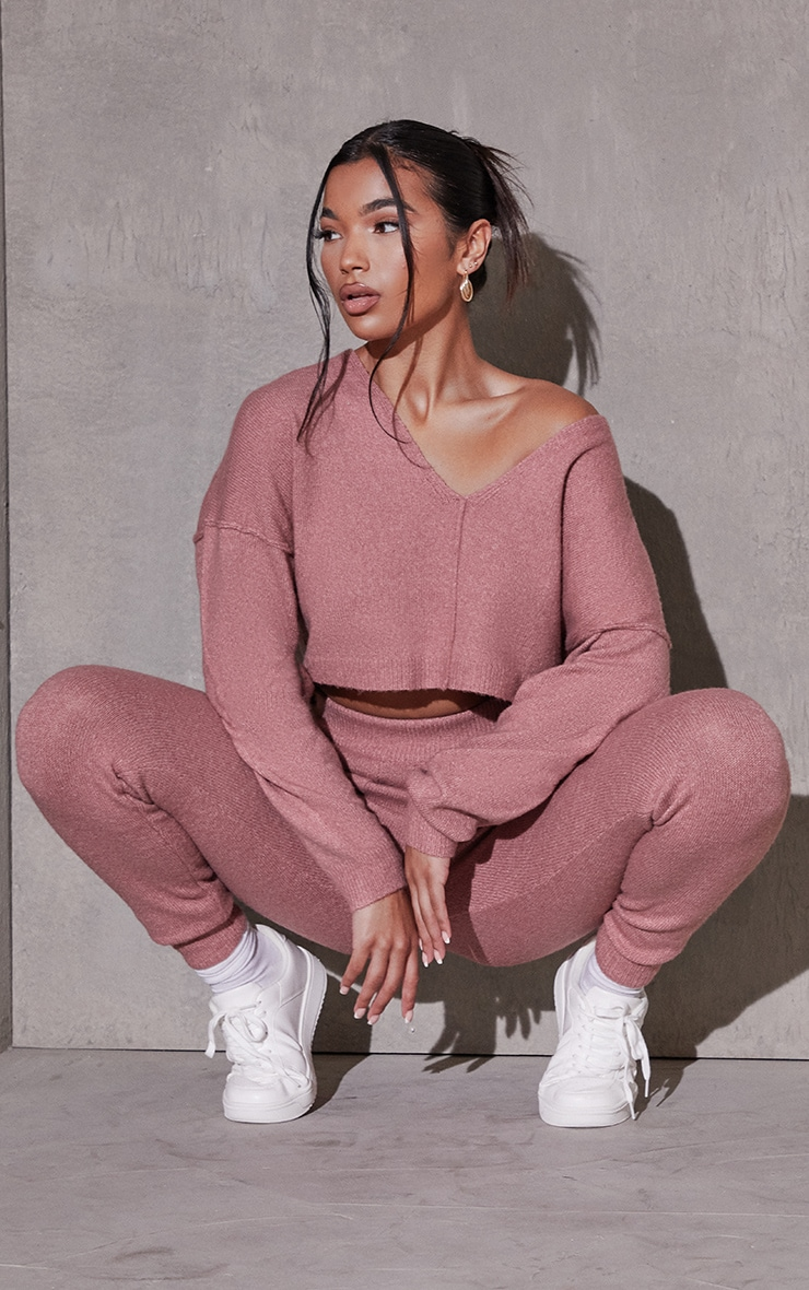 Pink Recycled Crop Sweater And Jogger Knitted Lounge Set 3