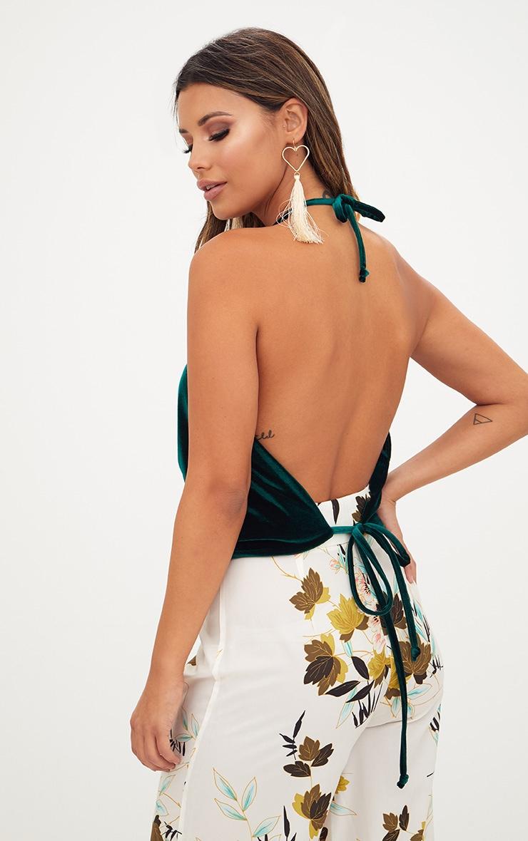 Green Velvet Open Back Halterneck Top 2