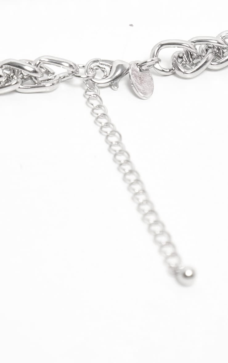 Silver Chunky Short Flat Link Chain Necklace 4