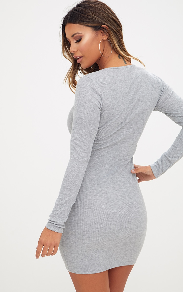 Grey Ribbed Long Sleeve Popper Front Dress 2