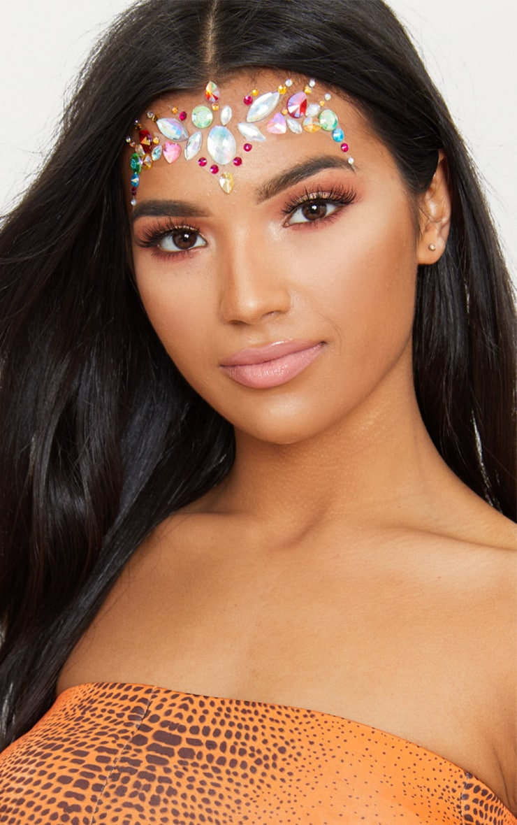 PRETTYLITTLETHING Multi Chunky Rainbow Festival Face Jewels 1