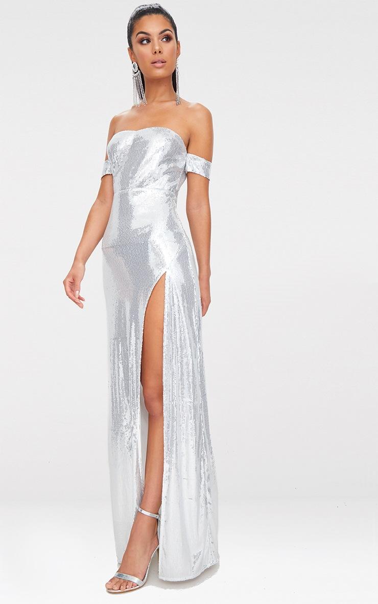 Silver Sequin Bardot Maxi Dress 4