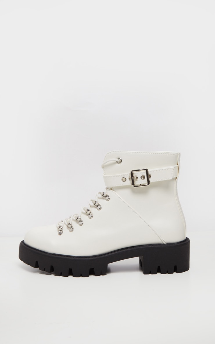 White Hiker Lace Up Ankle Buckle Boot 4