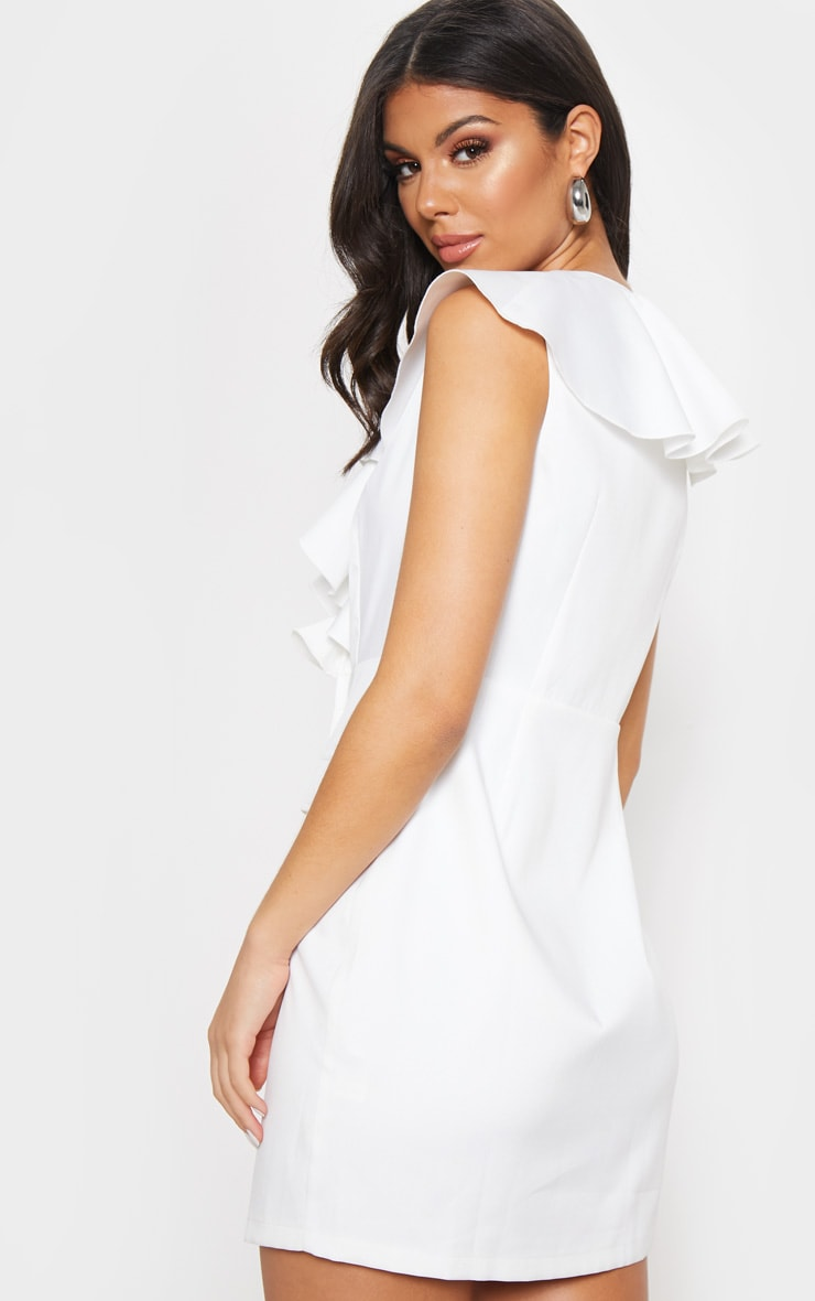 White Frill Detail Sleeveless Blazer Dress  2