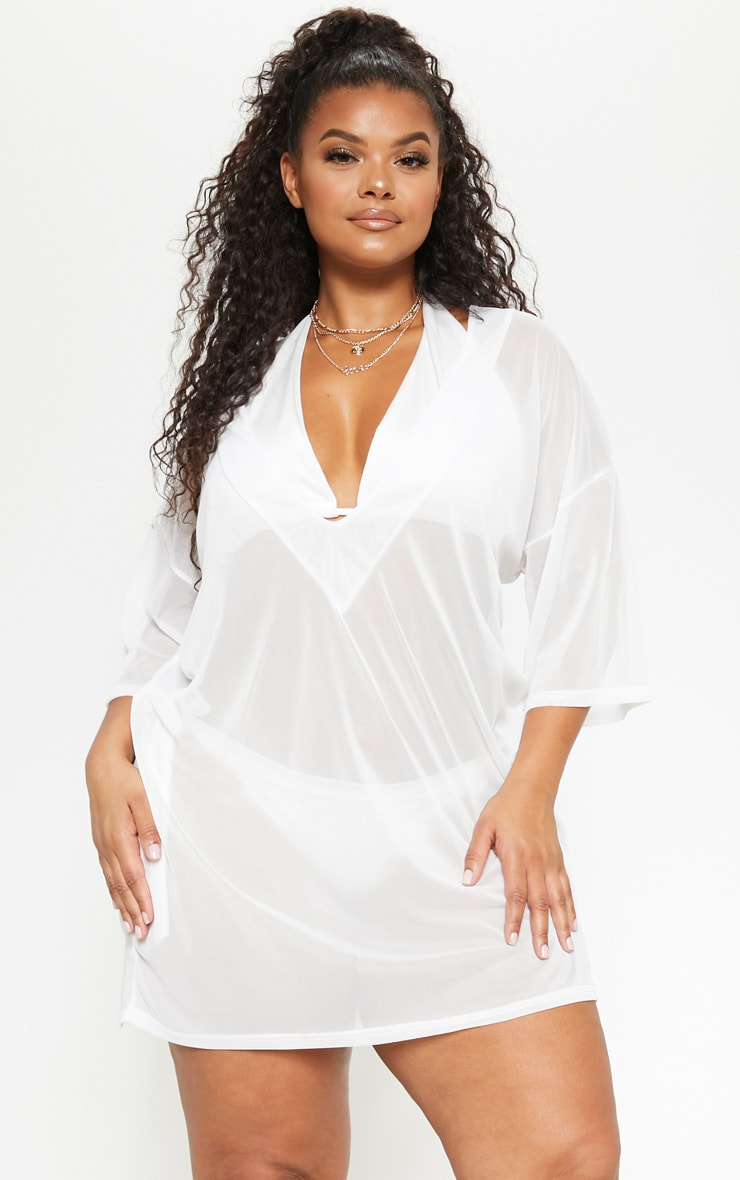 Plus White Plunge Chiffon Beach Cover Up  1