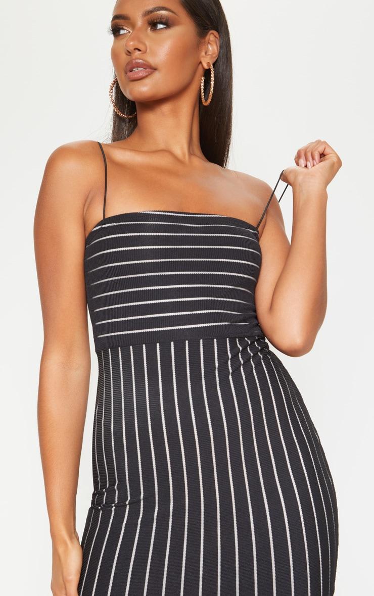 Black Striped Mesh Strappy Bodycon Dress 5