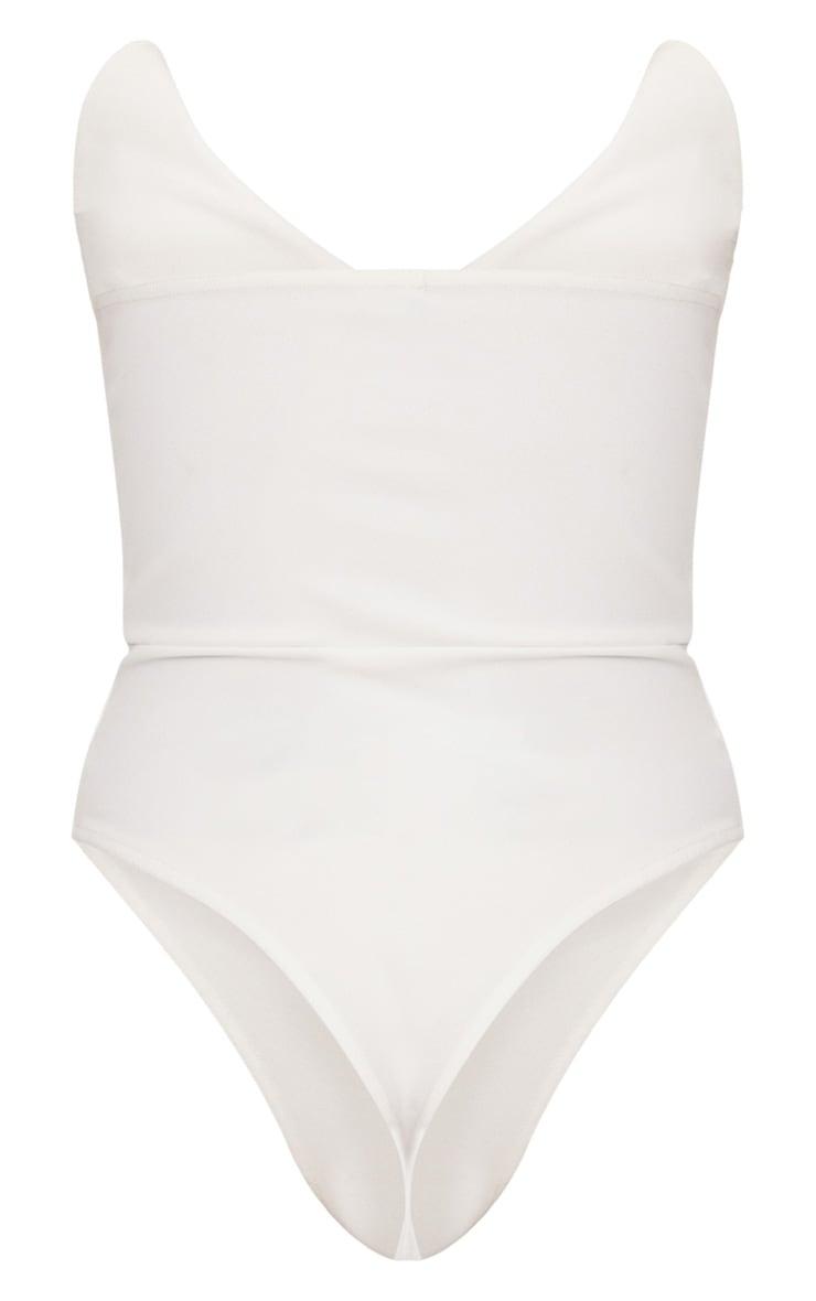 Body-string blanc bandeau avec col costume 4