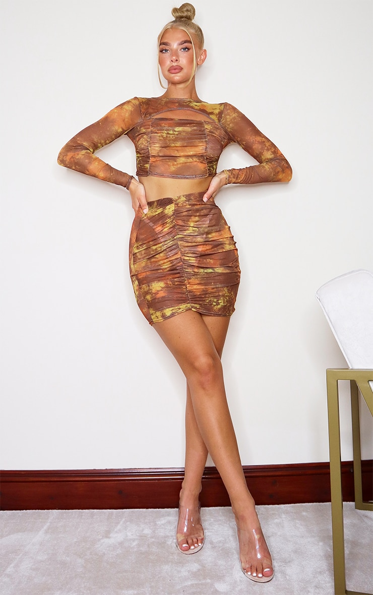 Brown Tie Dye Print Mesh Ruched Front Mini Skirt 4
