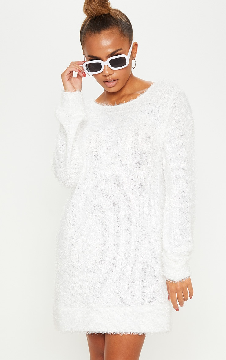reasonably priced classic chic large assortment Cream Eyelash Jumper Dress
