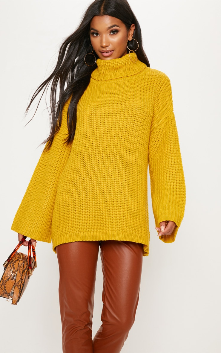 Mustard Chunky Open Knit Jumper  2