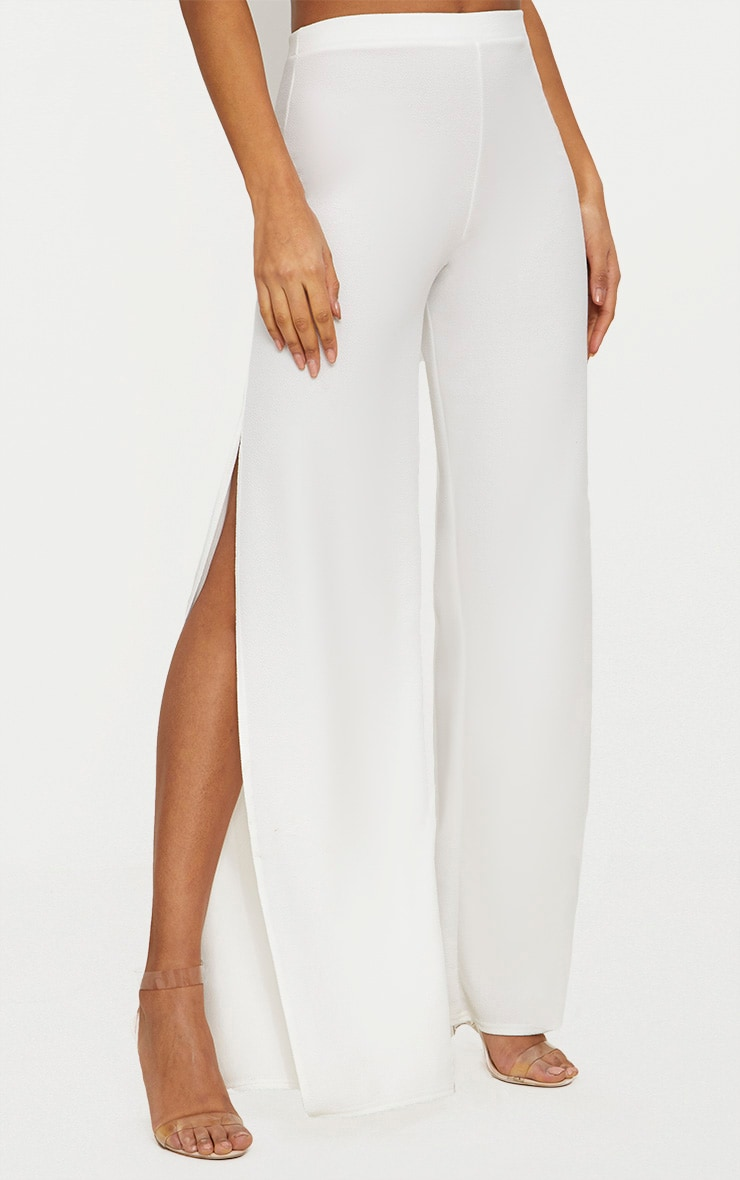 White Split Detail Wide Leg Trousers 2