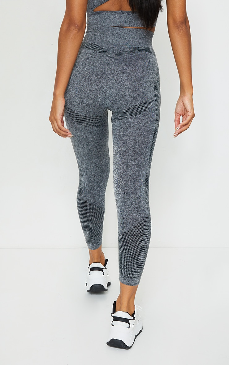 PRETTYLITTLETHING Grey Marl Contour High Waisted Seamless Leggings 3