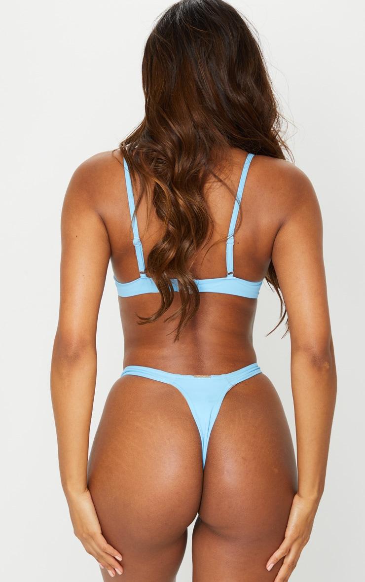 Recycled Blue Mix & Match Thong Bikini Bottoms 4