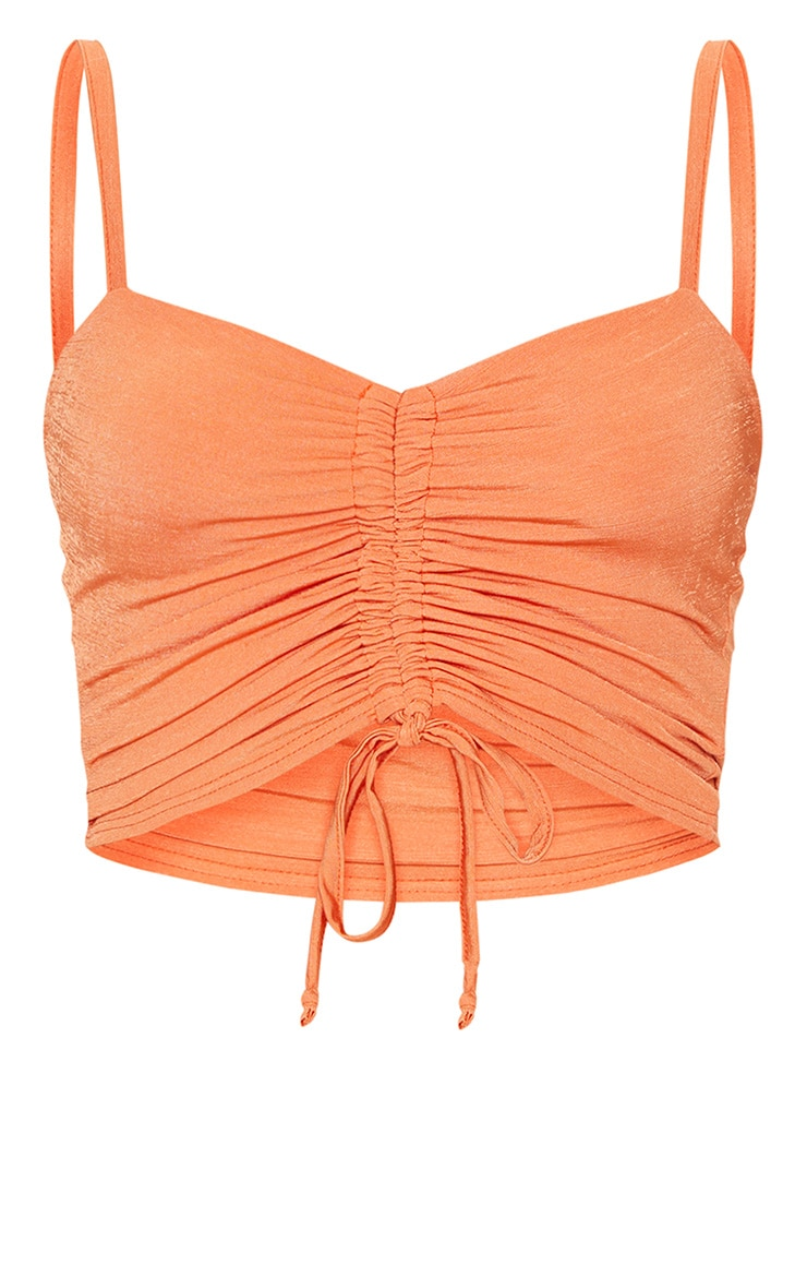Orange Ruched Front Strappy Crop Top 3