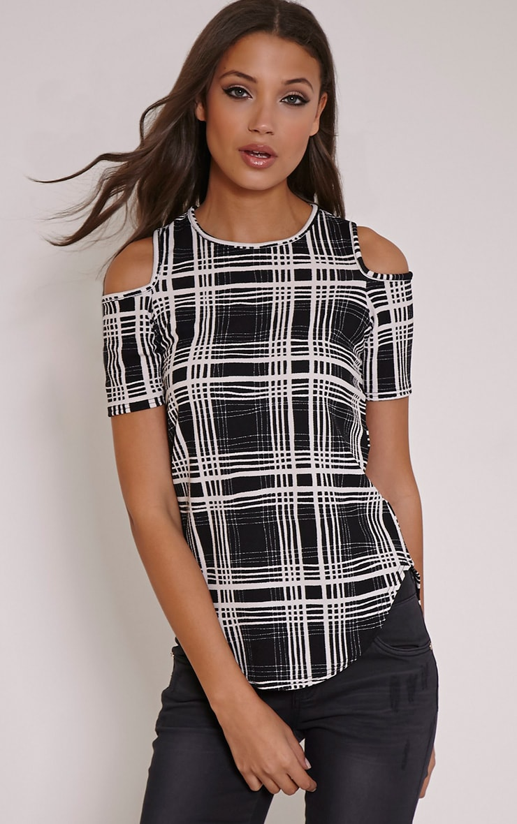 Anora Monochrome Checked Cold Shoulder Dip Hem Top 1
