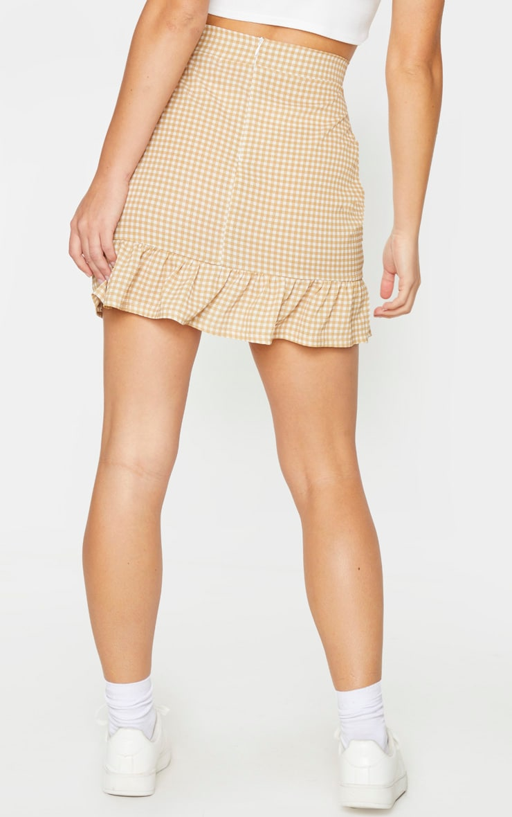 Stone Gingham Frill Hem Wrap Mini Skirt 3