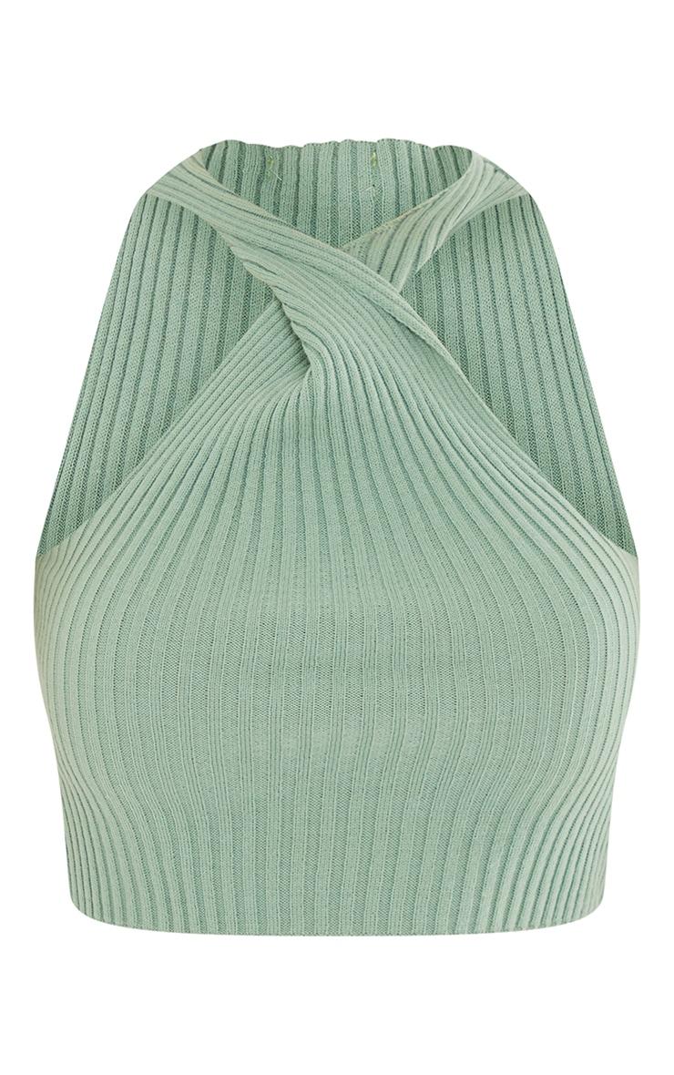 Sage Green Knit Cross Front Crop Top 5