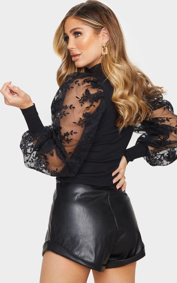 Black Floral Embroidered Puff Sleeve Rib Long Top 2