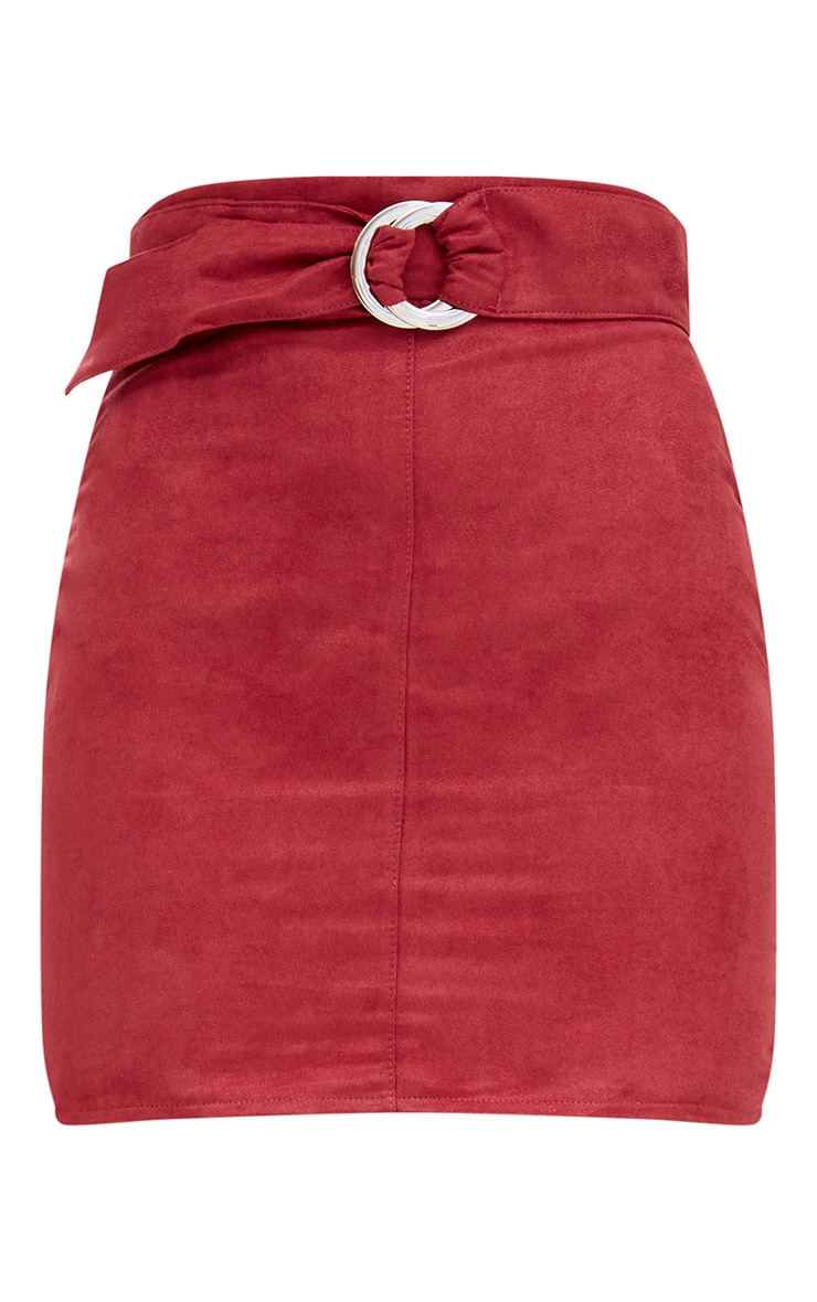 Red Faux Suede Belted Mini Skirt 3