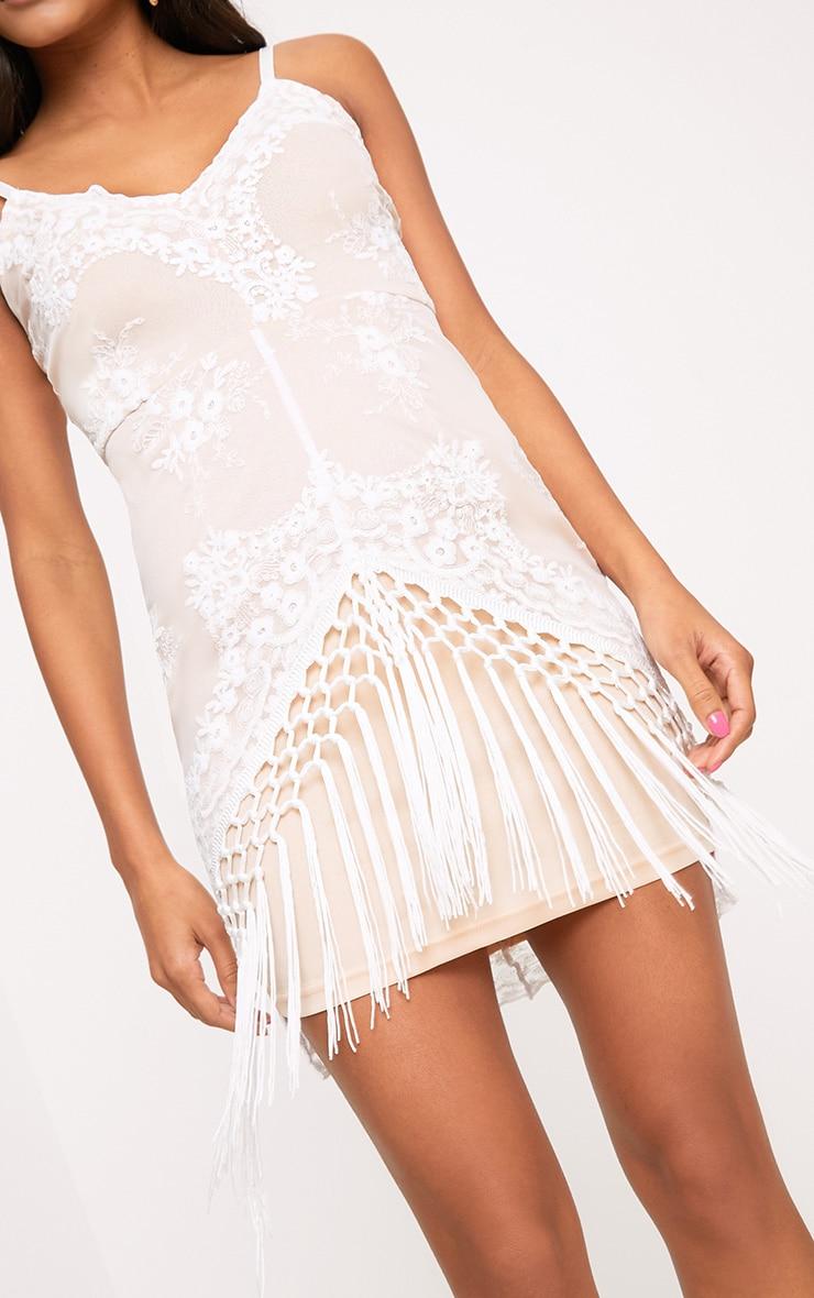 Danni White Lace Tassel Trim Bodycon Dress  5