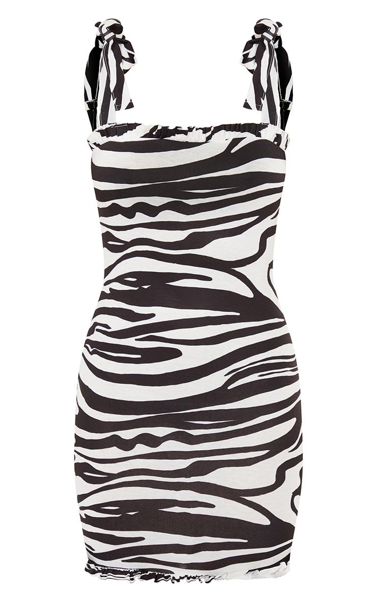 Black Zebra Tie Shoulder Frill Detail Bodycon Dress 5
