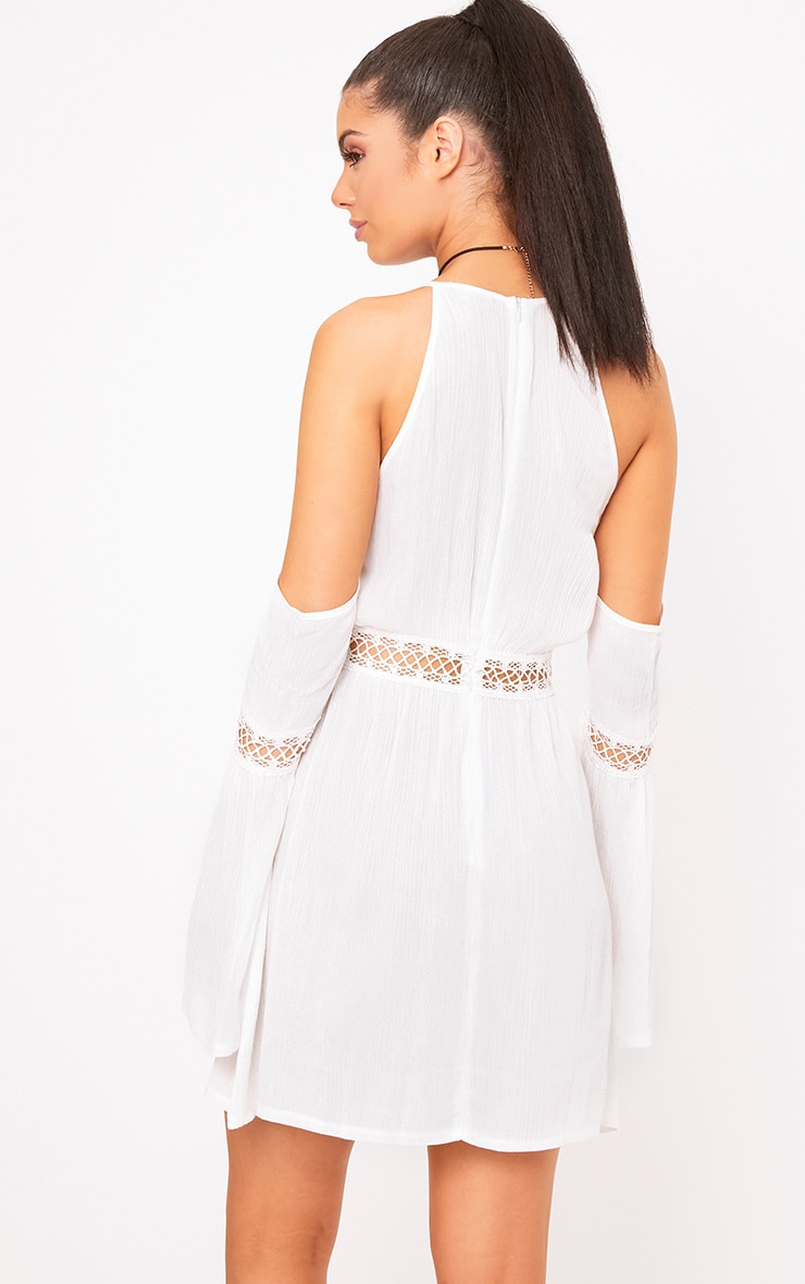 White Cheesecloth Cold Shoulder Swing Dress 2