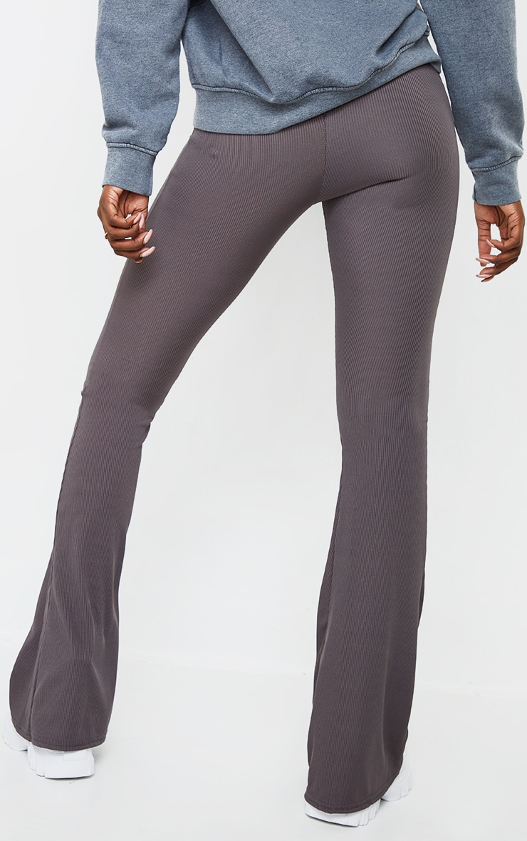 Tall Charcoal Ribbed Flared Trousers 3
