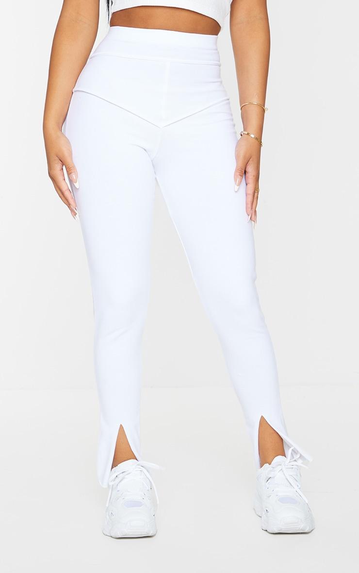Petite White Cotton Seam Detail Legging 2