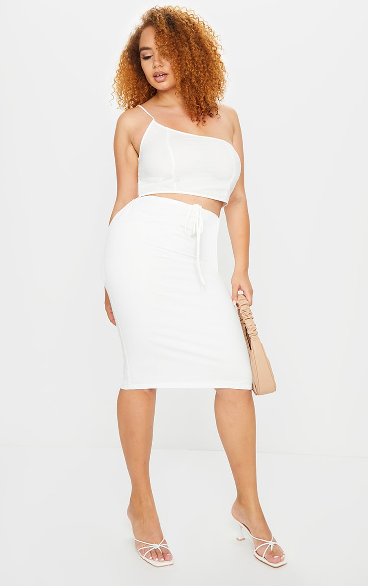 Plus White Woven Asymmetric Crop Top 3