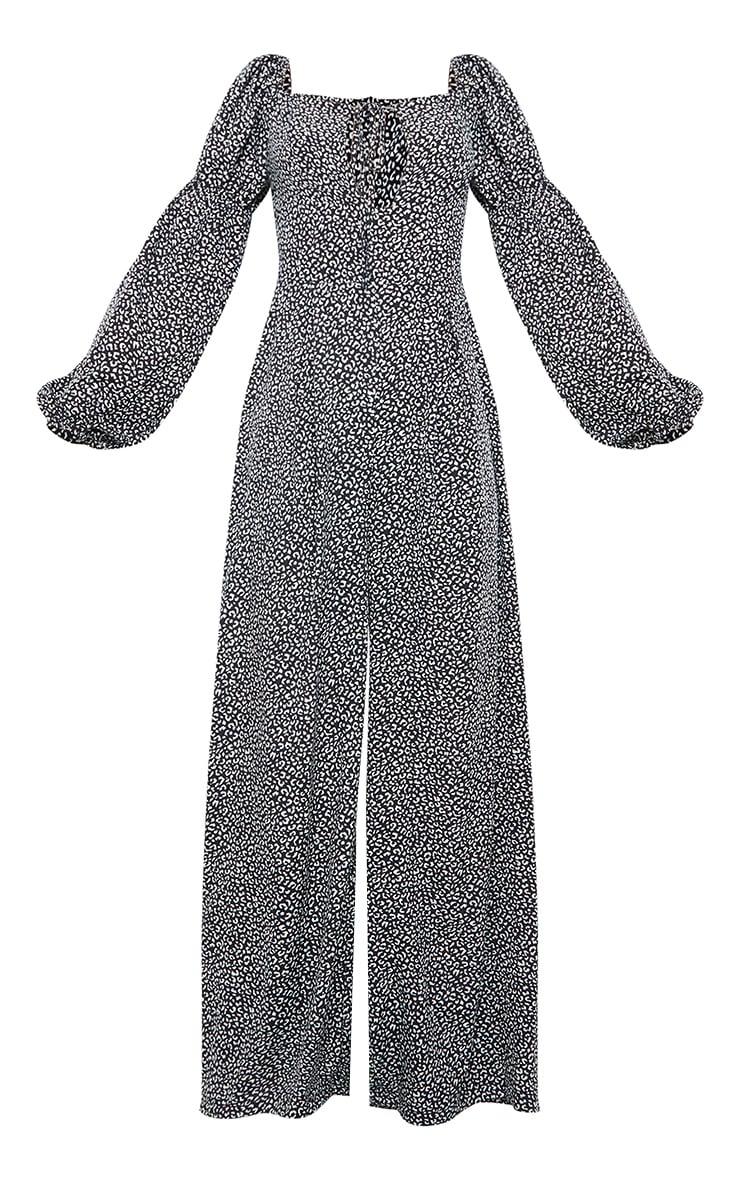 Black Dalmatian Print Cross Neck Puff Sleeve Jumpsuit 5