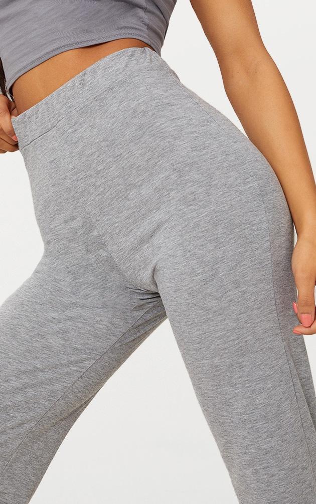 Grey Marl Basic Jersey Wide Leg Trousers  5