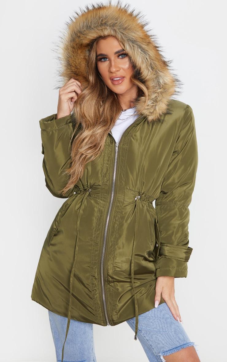Khaki Faux Fur Trim Hood Parka Coat 4