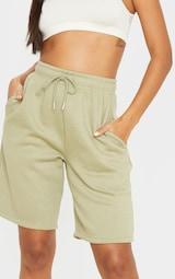 Sage Khaki Drawstring Sweat Longline Shorts 6