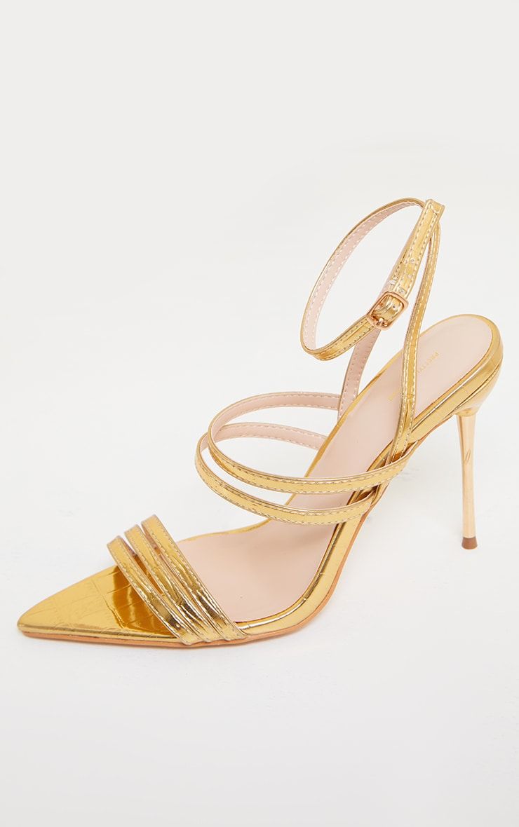 Gold Point Toe Pin Heels Double Strap Heels Sandals 4