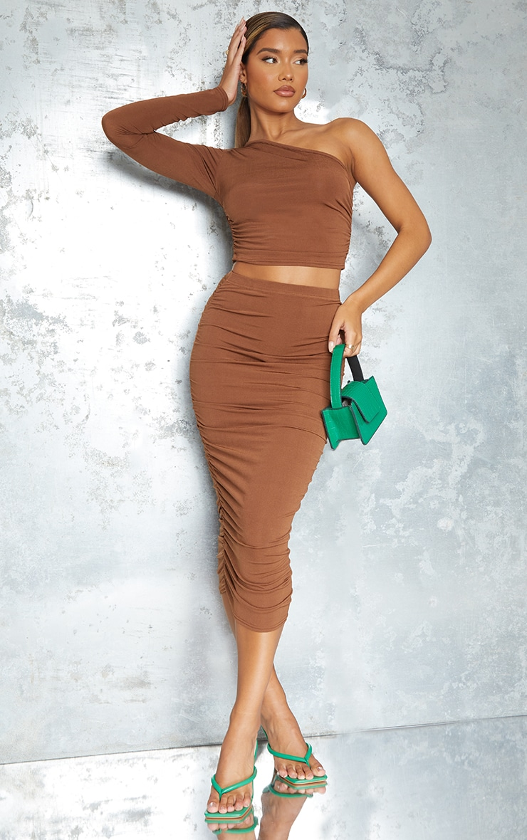 Chocolate Brown Ruched One Shoulder Long Sleeve Crop Top 3