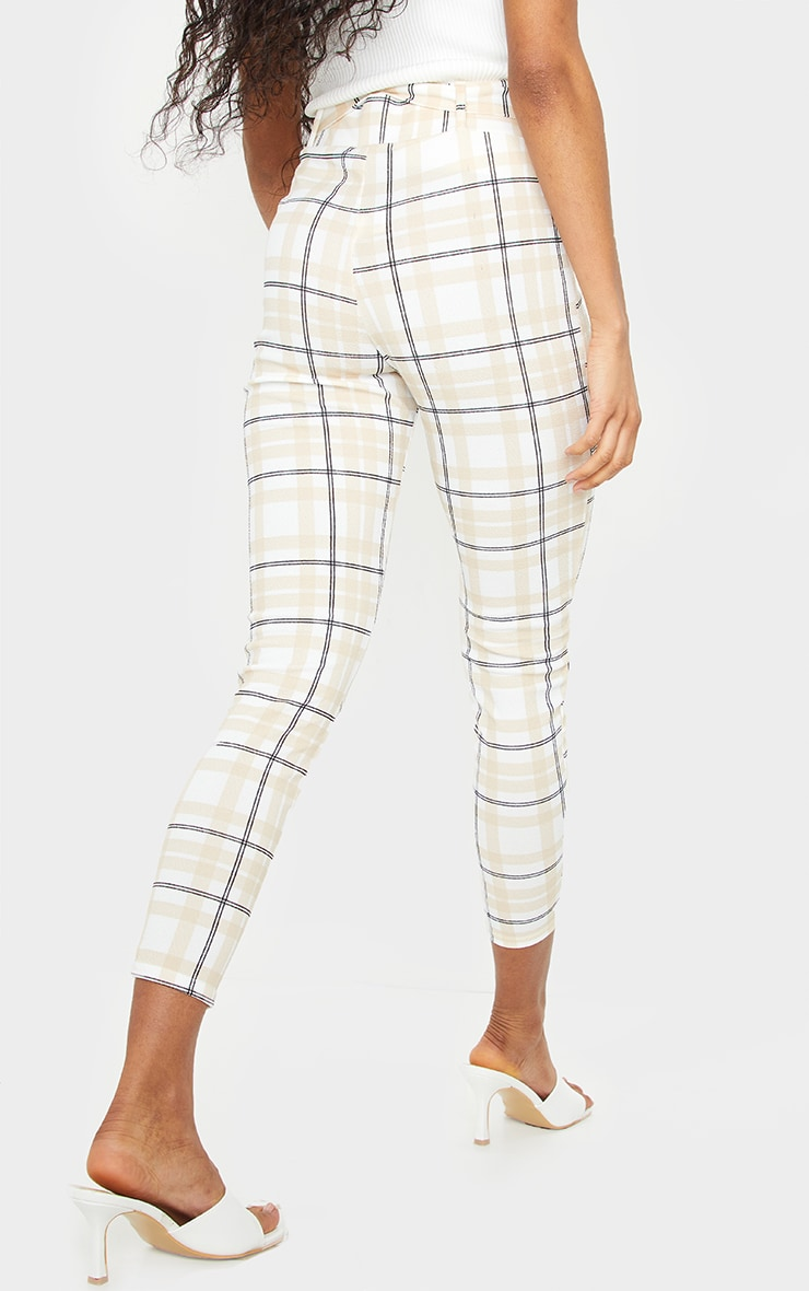 White Check Belted Skinny Pants 3