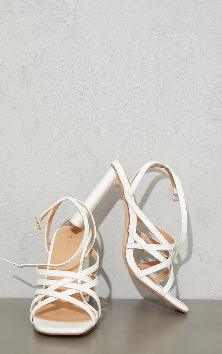 White PU High Flat Heel Square Toe Multi Strap Sandals 3