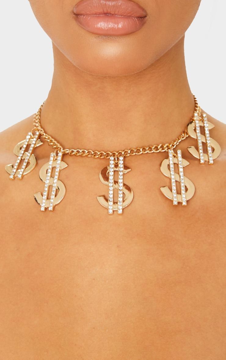 Ras-de-cou doré à signes dollars strassés  2