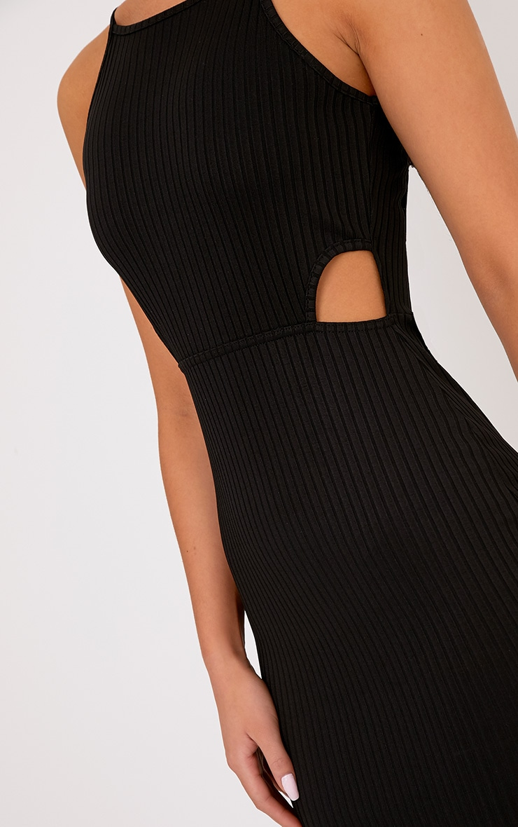 Mireille Black Ribbed Cut Out Bodycon Dress 5