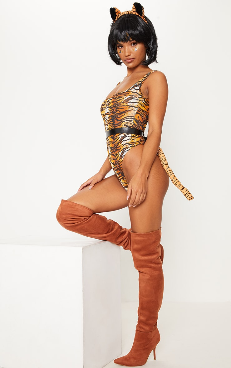 Burnt Orange Tiger Print Square Neck Bodysuit 2