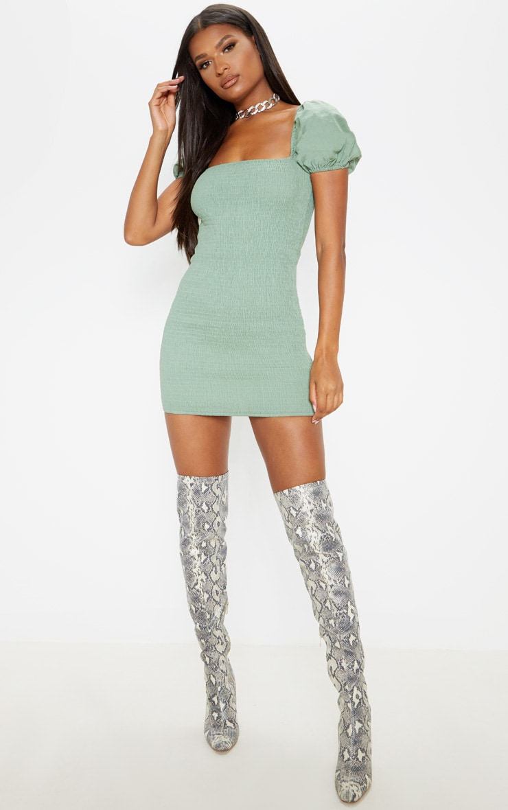 Sage Green Puff Sleeve Square Neck Shirred Bodycon Dress 4