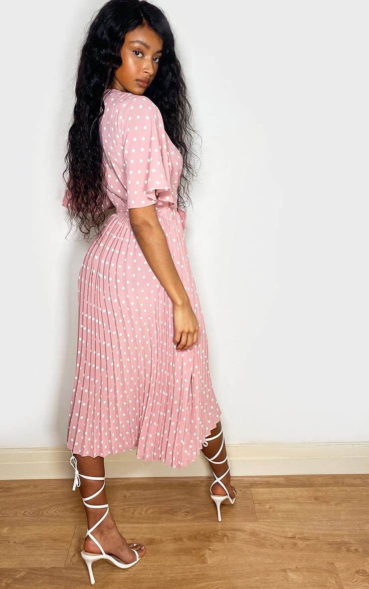 Dusty Pink Polka Dot Pleated Midi Dress 2