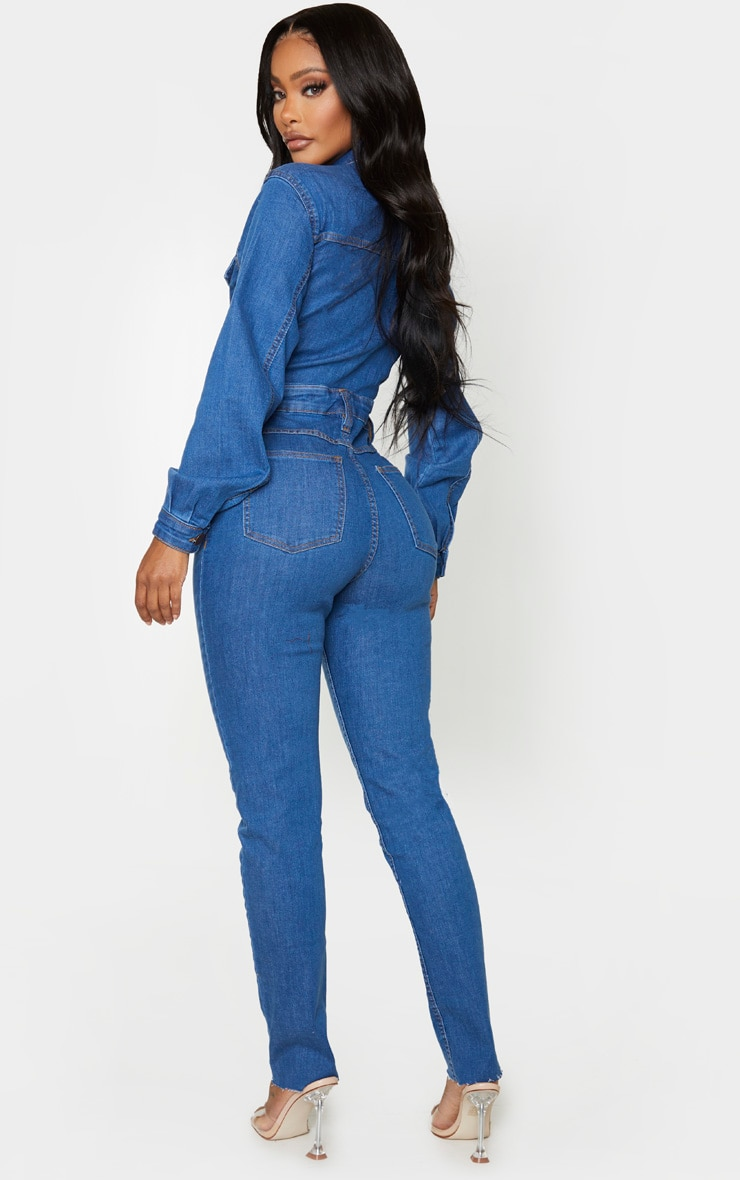 Shape Mid Blue Wash Denim Zip Front Jumpsuit 2